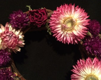Small Dried Flower Wreath from Sonoma - Gomphrena - Helichrysum - Willow Fairy Wreath -  Pink and Purple Flowers