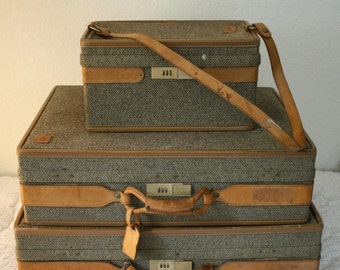 Three Piece Set of Vintage Hartmann Luggage in Hartmann Signature Canvas with Leather Straps and Handles