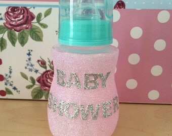 Set of 6 Hand glittered baby shower bottle table decorations x