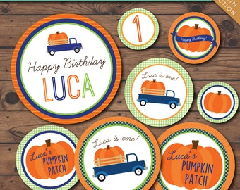 Little Pumpkin Printable Party Circles -- Personalized