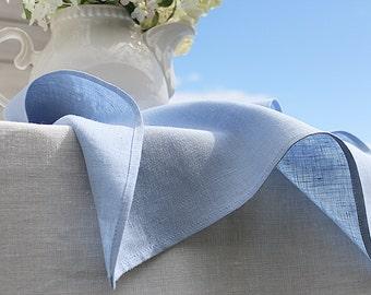 Ice blue linen napkins / Set of 12 / Softened, washed linen
