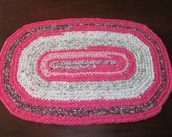 "Oval Crochet Rag Rug, Pink and White Rag Rug, Upcycled Bed Sheets, 21-1/4"" x 31-1/4"", Girls Bathroom, Rug for Nursery, Handmade Crochet Rug"