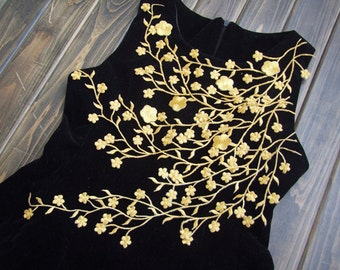 Embroidered Applique - Golden Plum Blossom, Silver Wintersweet