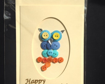 Handmade Owl Birthday Card - buttons - gems - blue