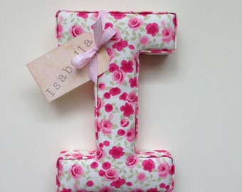 Fabric letter, padded, wall letter, name tag, handmade, personalised, initial, name, shabby chic, nursery, decor, wallart, baby girl, floral