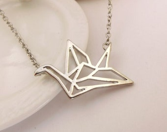 silver paper crane necklace bird necklace origami necklace simple necklace everyday necklace bridesmaid gift , wedding gift