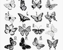 Temporary Tattoo 2 Butterfly tattoo , various sizes available
