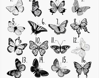 butterfly tattoo etsy de. Black Bedroom Furniture Sets. Home Design Ideas