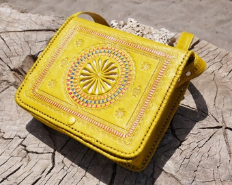 Gift for her, Bohemian Bag, Gypsy Style Leather Bag, Moroccan Leather Bag, Yellow Leather Bag, Boho Bag, Soft leather bag, Hippie hippy bag