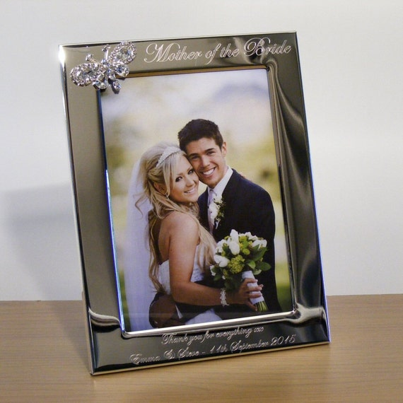 Engraved Silver Wedding Photo Frame With Diamante Crystals : Personalised Engraved Photo Frame Wedding Gift ~ 6