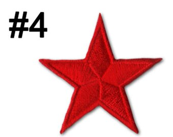 7Red Star Patch Top Quality Embroidery Sticker Badge 5cm x 5cm