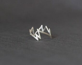 handgefertigter Zig Zag Ring aus Silber