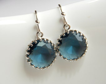 Navy Blue Earrings, Bridesmaid Earrings, Silver Blue Earrings, Wedding Jewelry, Montana Blue, Dangle, Bridesmaid Jewelry, Bridesmaid Gifts
