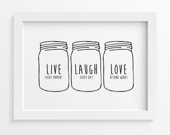 "Inspirational Print ""Live Laugh Love"" Printable Home Decor, Mason Jar Art Print, Quote Print, INSTANT DOWNLOAD, Gallery Wall Art"
