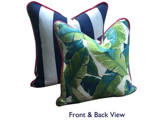 Palm + Navy Stripe Patiogirl Pillow Cover