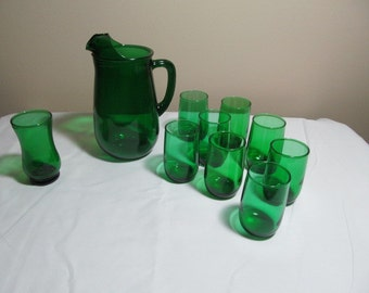 Forest Green 1950's Glass Juice Size Pitcher and Eight Tumblers