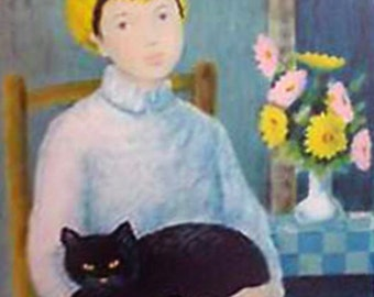 """Angelina Lavernia """"Woman With Cat 1950"""""""