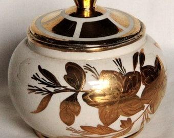 Vintage Cream and Gold Sugar Bowl by Sadler