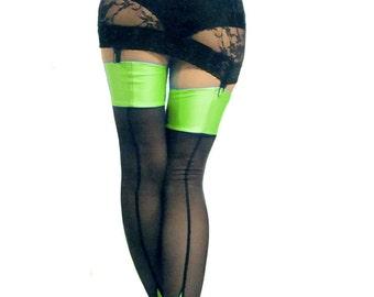 Seamed cuban heel power net stockings Black Neon Green