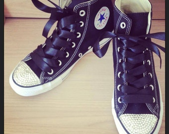 Adults Black Swarovski Converse High Tops with ribbon laces Wedding Bling Towie