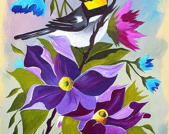 Original Acrylic Painting Warbler in Bush Bird painting bird art warbler painting by Michael Hutton 9 x 12
