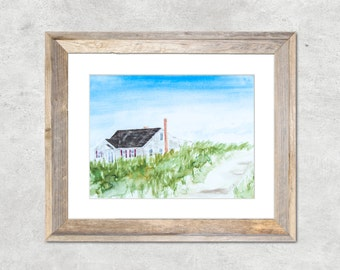 Cape Cod Waterfront Beach House Original Watercolor Painting 8x10""