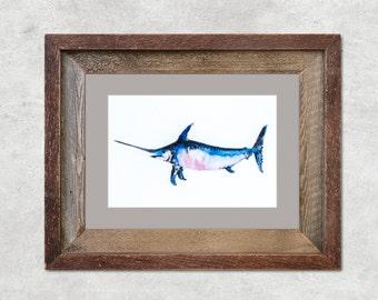"""Swordfish Original Watercolor Painting 5x7"""""""