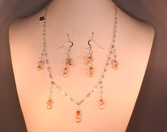 Sterling silver necklace and earring set with pearls and sunstone