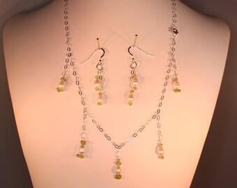 Sterling silver necklace and earring set with pearls and peridot