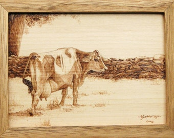 Jersey Cow Wood Burning Art