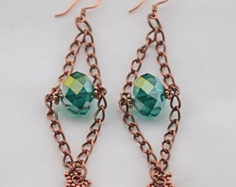 Copper Chain and Blue Bead Earrings