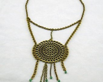 Large Brass and Brash Necklace with Playful Accents