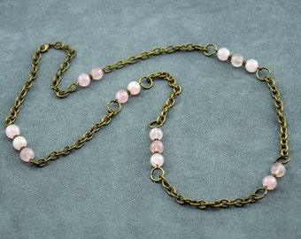 Brass and Rose Quartz Chain