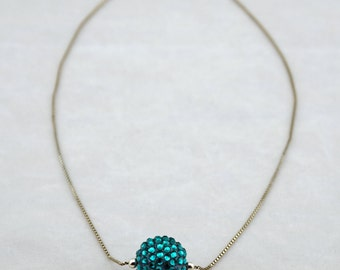 Retro Style Blue Disco Ball with Silver Chain Necklace