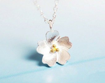 Cherry Flower Necklace – 925 Sterling Silver – Silver Color