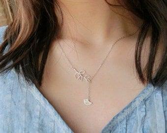 Little Bird and Leaf Necklace – 925 Sterling Silver – Silver Color – Adjustable Length