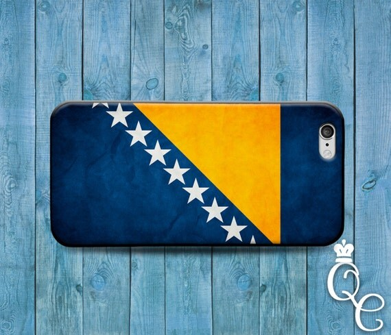 iPhone 4 4s 5 5s 5c SE 6 6s 7 plus iPod Touch 4th 5th 6th Gen Blue Yelow Star Country Flags Bosnia Bosnian European Flag Case Phone Cover