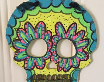 day of the dead style wall art wall hanging dia de los muertos hand painted mexican folk art decor sugar skulls halloween decoration