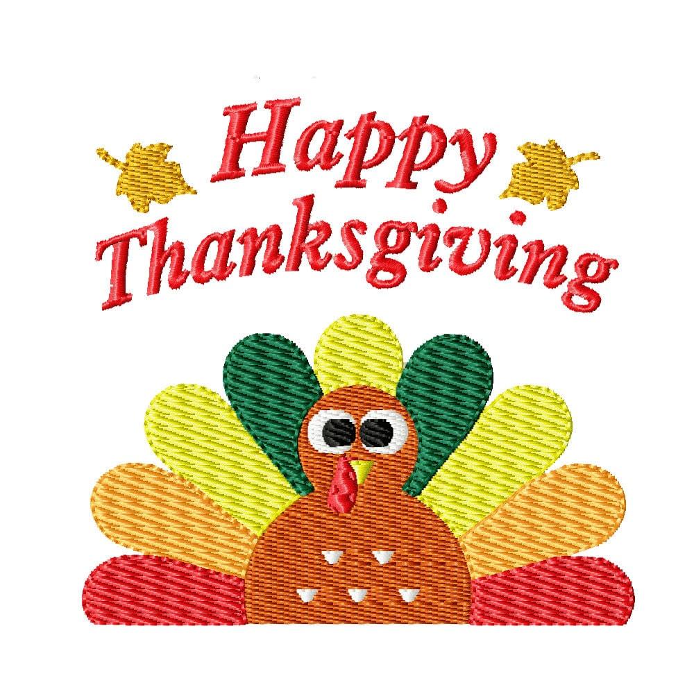 Thanksgiving turkey machine embroidery design