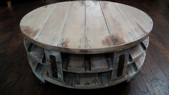 Round Industrial Chic Coffee Table Pallet Wood Coffee Table