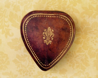 Vintage Heart Shaped Leather Ring Box, Italy