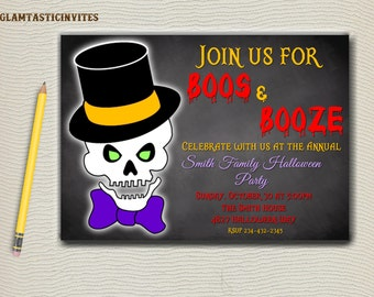 Printable Boos and Booze Invitation, Adult Halloween Party, Scary Halloween Invitations, All Hallow's Eve, Graveyard, Chalkboard, Skeleton