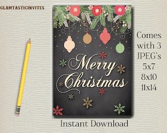 Christmas Sign, Merry Christmas, Chalkboard Sign, Christmas Chalkboard Sign, Christmas Gift, Instant Download, Printable Sign, DIY,Christmas