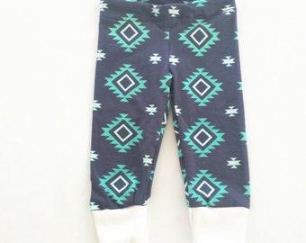 Teal navy cuffed leggings