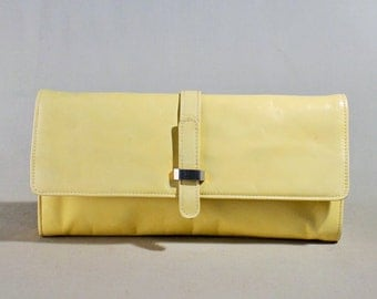 Vintage Yellow ROC Leather Clutch, Handbag