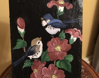 Handpainted Slate with Blue Birds and Flowers // Made to Order
