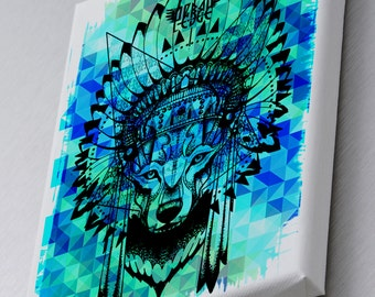 Native Geometric Wolf Printed Canvas