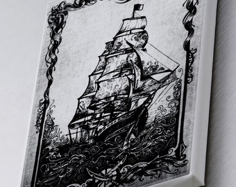 Ship Shape Nautical Printed Canvas