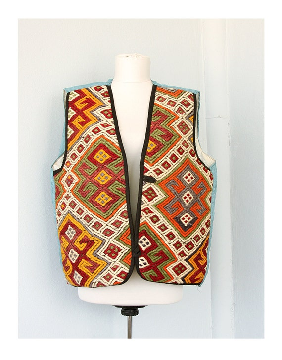 Vintage men's vest Wool kilim vest Turkish efe waistcoat Tribal textile clothing Handwoven wall decor Tapestry wool weave Western ethnic