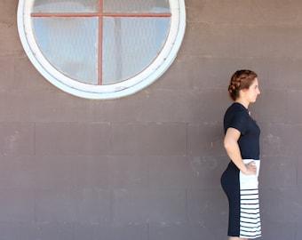 Black and White Stripe Pencil Skirt, Knit Skirt, Knee Length Skirt, High Waisted